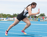 May 22, 2015 - Charleston, IL - Downers Grove South's Nicole Muccianti competes in the Class 3A 4x100-Meter Relay during Friday''s preliminary competition. [Photo: Douglas Cottle/PhotoNews]